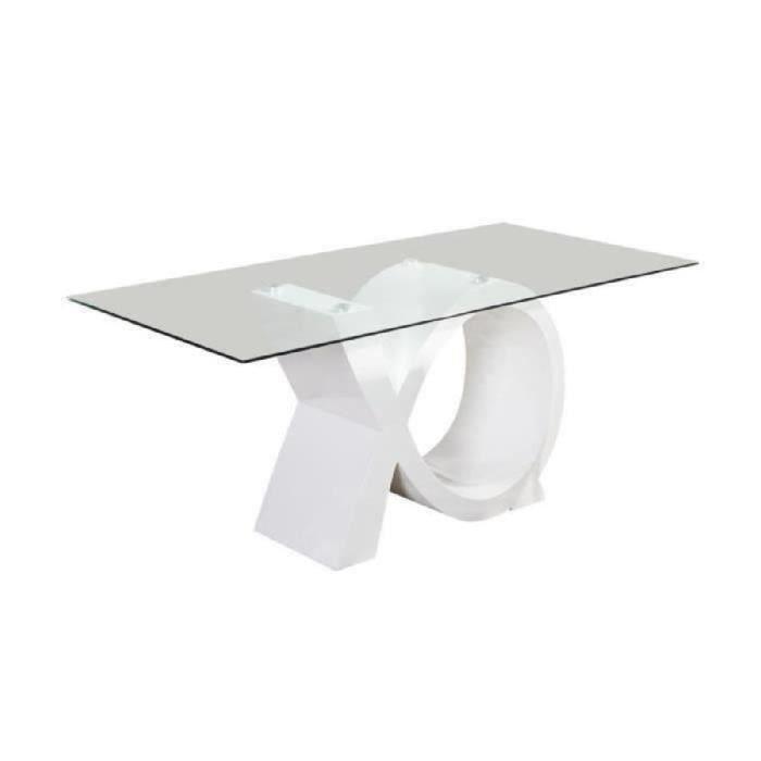 SHARON Table à manger 180x90cm laqué blanc brillant