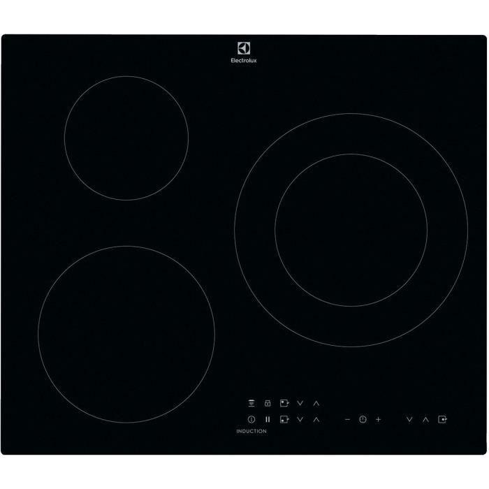 ELECTROLUX CIT60331CK Plaque de cuisson induction - 3 zones - 7350 W - L 59 x P 52 cm - Revêtement verre - Noir