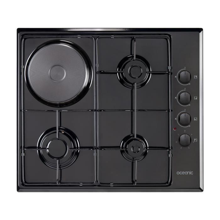OCEANIC CTM3G1EB Plaque de cuisson mixte gaz / électrique - 4 foyers - L58xP51cm - Revêtement email - Noir