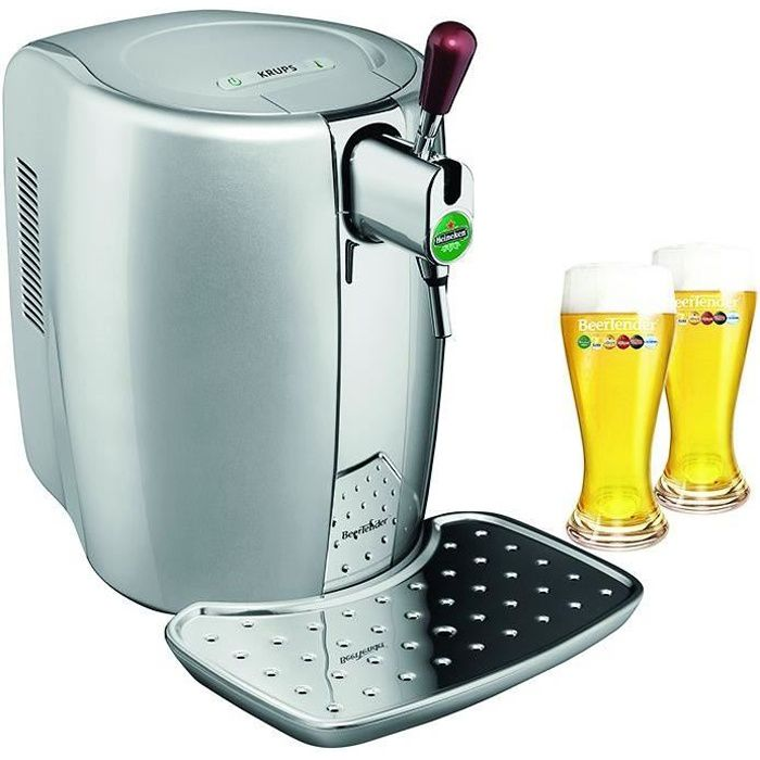 KRUPS YY2931FD Machine à bière Beertender - Argent + coffret 2 verres