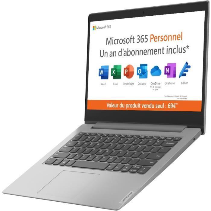 PC Portable Ultrabook - LENOVO Ideapad IP 1 14ADA05 - 14''HD - AMD 3020E - RAM 4Go - Stockage 64Go - Windows 10S - AZERTY