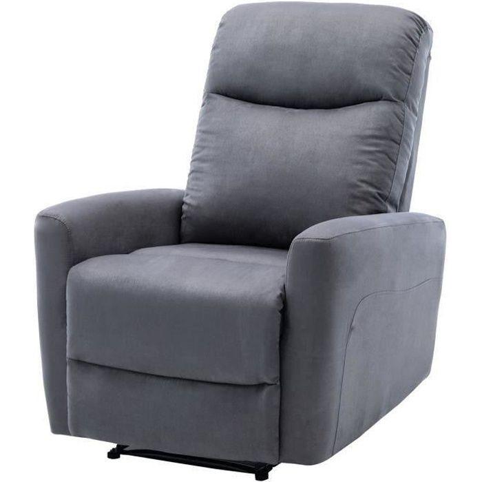 Fauteuil relax manuel - Tissu gris - L 82 x P 97 x H 98 cm - JESS