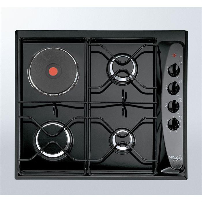 WHIRLPOOL AKM261 Noir Table de cuisson mixte gaz / électrique-4 foyers-L58xP50cm-Revêtement porcelaine émail-Noir