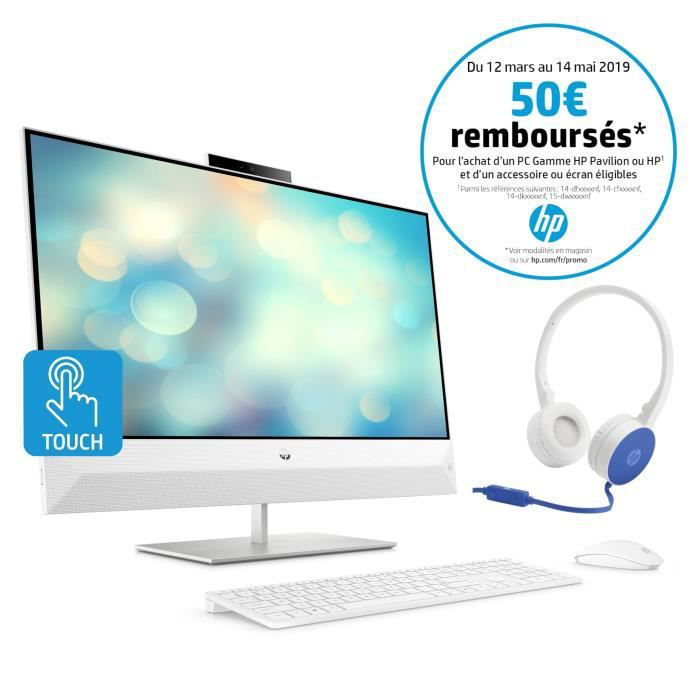 HP PC Tout-en-un Pavilion 27-xa0001nf 27''FHD Tactile -Intel Core i5 -RAM 8Go - Stockage 1To+SSD 128Go -NVIDIA MX130 -W10 +casque