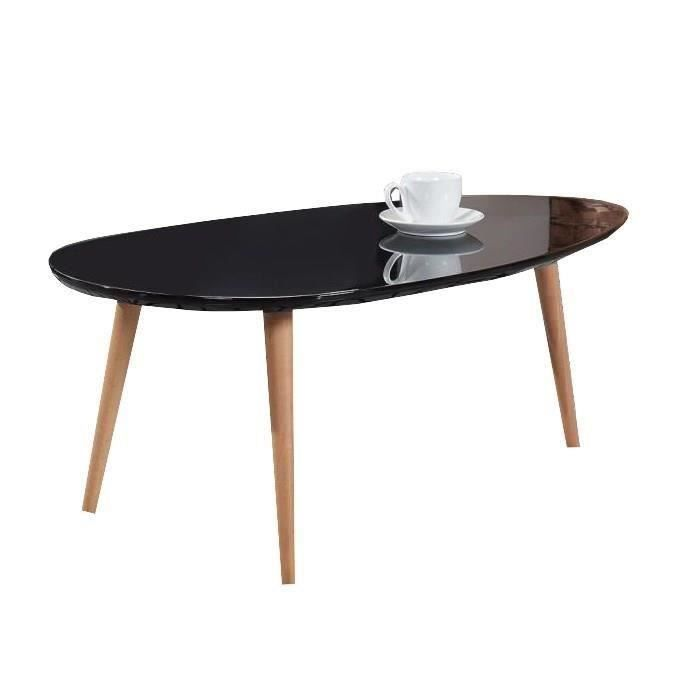 stone table basse ovale scandinave laqu noir brillant. Black Bedroom Furniture Sets. Home Design Ideas