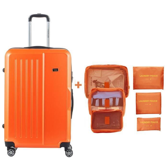 TRAVEL WORLD Valise grande taille 75cm + 6 organisateurs de voyage - Couleur Orange