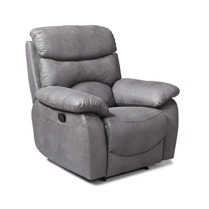 Fauteuil relax manuel - Tissu Gris - L 99 x P 92 x H 107 cm - SOBRAL