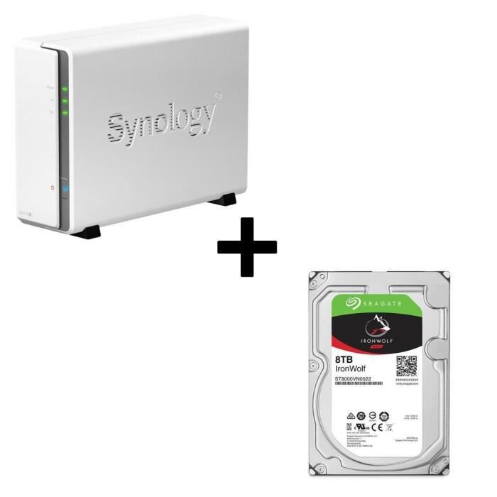Pack Synology Serveur NAS DiskStation DS115j + 1 Disque Dur Seagate NAS HDD Iron Wolf 4To 3,5\