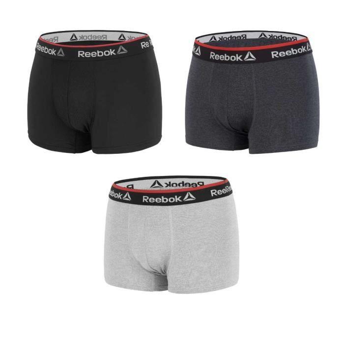 REEBOK Lot de 3 boxers noir/gris anthracite/gris - Homme
