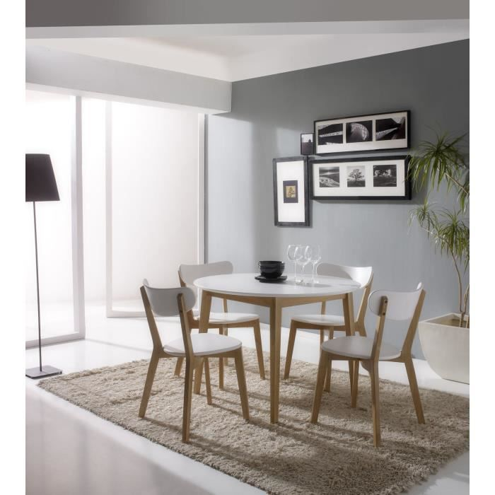 carole ensemble repas blanc et bois massif 5 pi ces 1 table 4 chaises achat vente table. Black Bedroom Furniture Sets. Home Design Ideas