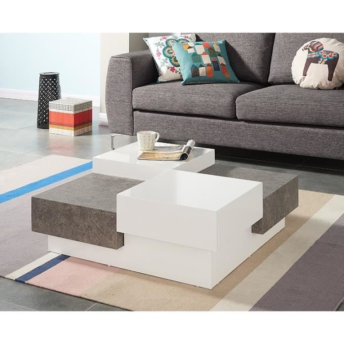 Bacalan table basse style contemporain laqu blanc for Meuble 2 tiroirs 90 cm woodstock laque blanc