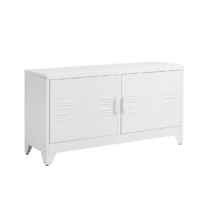 camden meuble tv industriel en m tal laqu blanc l 119 cm achat vente meuble tv camden. Black Bedroom Furniture Sets. Home Design Ideas