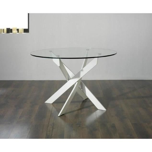 Ruth table manger ronde 6 personnes 120x120 cm blanc for Table ronde design 6 personnes