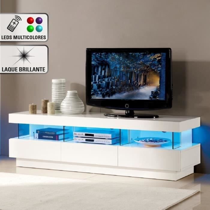 light meuble tv avec clairage led multicolore 160cm blanc brillant achat vente meuble tv. Black Bedroom Furniture Sets. Home Design Ideas