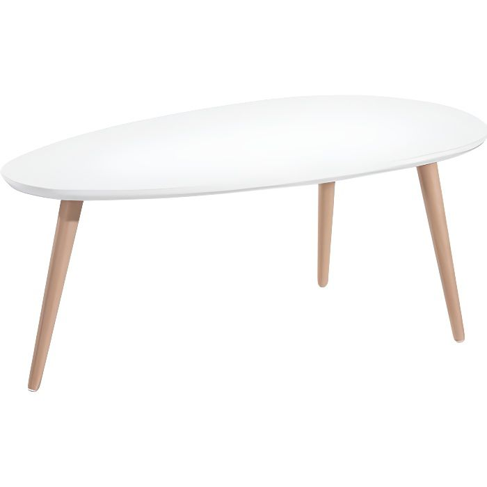 stone table basse ovale scandinave laqu blanc brillant avec pieds en bois massif l 88 x l 48. Black Bedroom Furniture Sets. Home Design Ideas