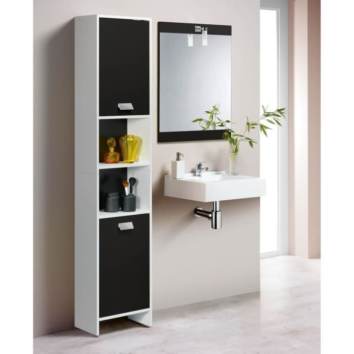 top colonne de salle de bain l 39 cm blanc et noir. Black Bedroom Furniture Sets. Home Design Ideas