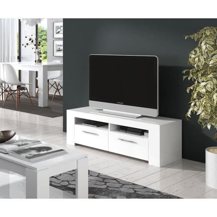 Diamentino meuble tv 120cm blanc brillant achat vente - Meuble tele but blanc ...