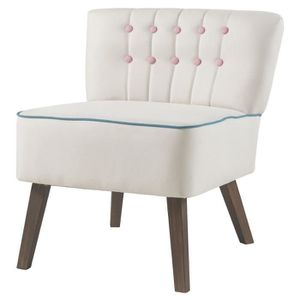 FAUTEUIL STANFORD Fauteuil crapaud - Tissu blanc boutons ro