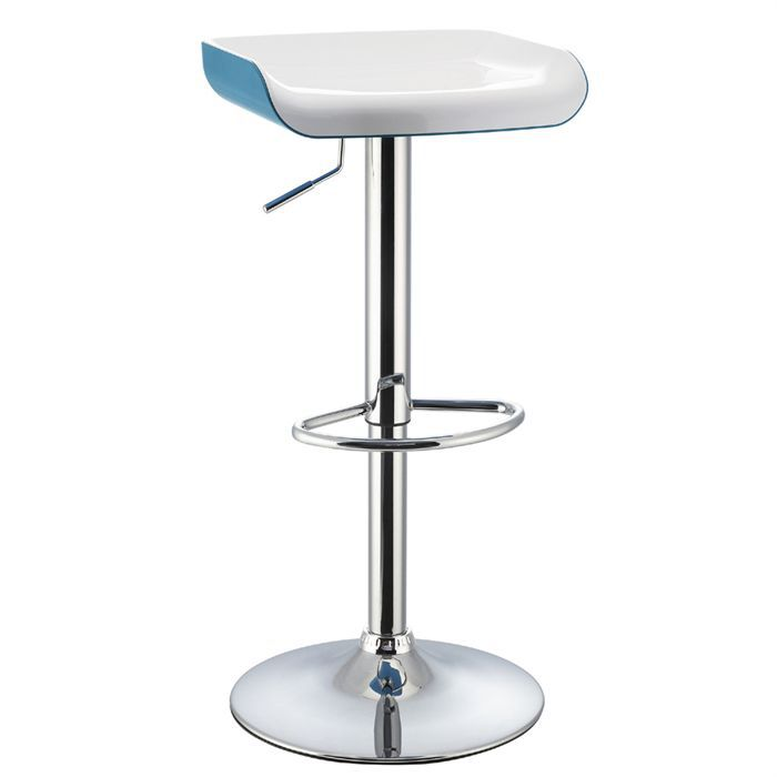 tabouret de bar blanc bleu assise abs achat vente. Black Bedroom Furniture Sets. Home Design Ideas