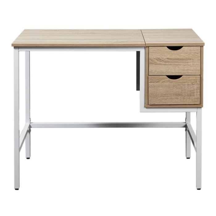 kora bureau scandinave m lamin d cor ch ne clair pieds m tal blanc l 100 cm achat vente. Black Bedroom Furniture Sets. Home Design Ideas