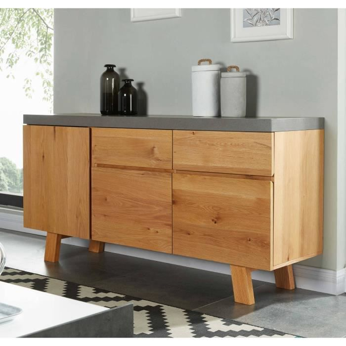 fjord buffet industriel plaqu ch ne et d cor effet b ton l 150 cm achat vente buffet. Black Bedroom Furniture Sets. Home Design Ideas