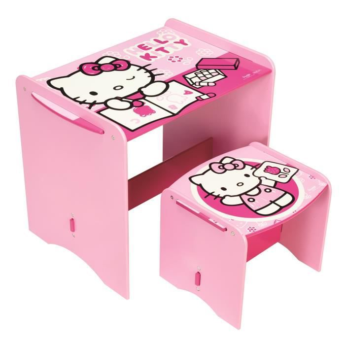 hello kitty mon premier bureau en bois enfant et tabouret achat vente bureau b b enfant. Black Bedroom Furniture Sets. Home Design Ideas