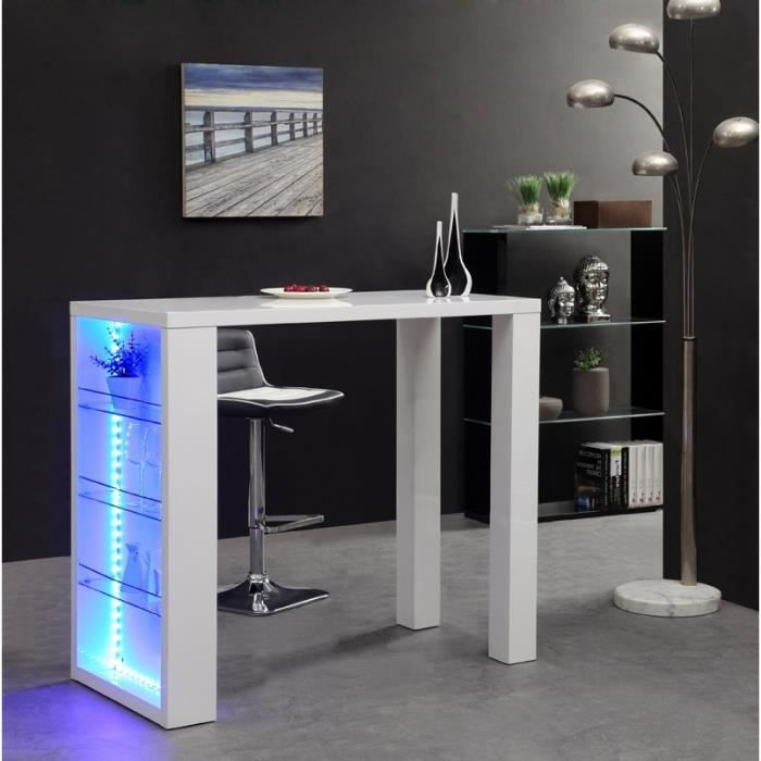 taquin bar blanc avec led l120 cm achat vente meuble. Black Bedroom Furniture Sets. Home Design Ideas