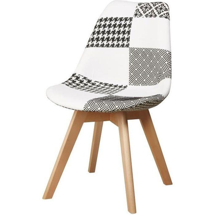 martins chaise en tissu patchwork gris et blanc pieds en bois naturel scandinave l 51 x p. Black Bedroom Furniture Sets. Home Design Ideas