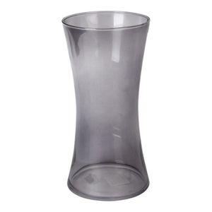 VASE - SOLIFLORE Vase en verre cintré - Ø 12,5 x H 25 cm - Gris