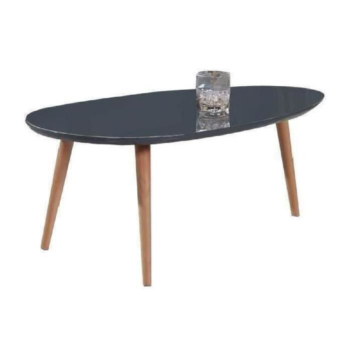 Stone table basse 88x48cm laqu gris brillant achat for Table basse gris laque
