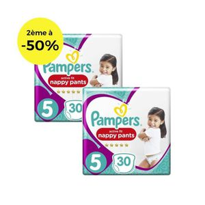 COUCHE PAMPERS Active Fit Pants Géant T5 X30 Lot de 2