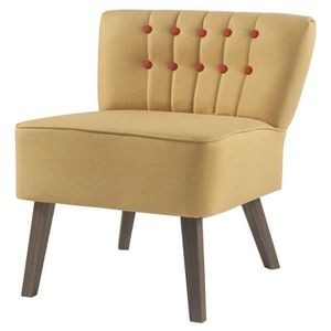FAUTEUIL STANFORD Fauteuil crapaud - Tissu jaune boutons ro