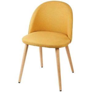 CHAISE MACARON chaise de salle à manger - Tissu jaune mou