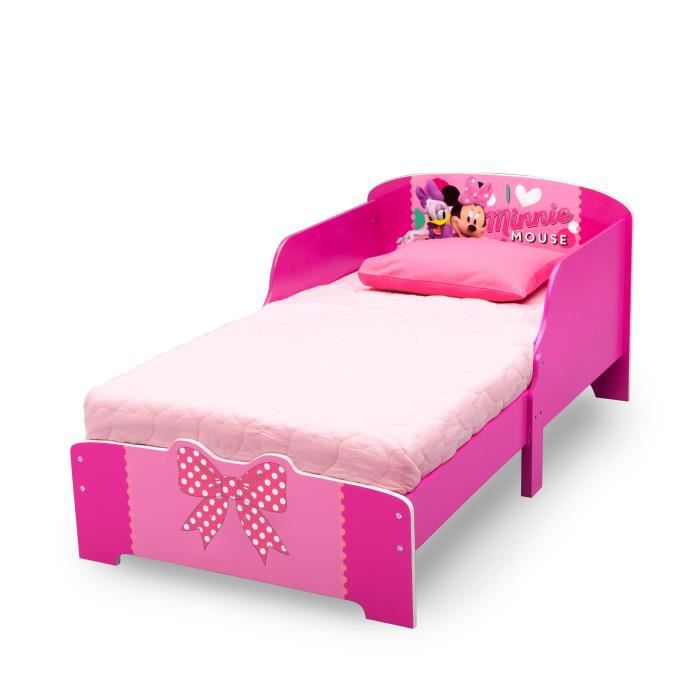 minnie lit enfant en bois rose 70 x 140cm achat vente. Black Bedroom Furniture Sets. Home Design Ideas