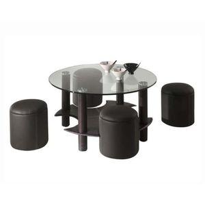TABLE BASSE PANAMA Table de salon avec 4 poufs - Simili Noir -