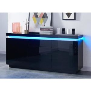 BUFFET - BAHUT  FLASH Buffet bas avec LED contemporain noir laqué