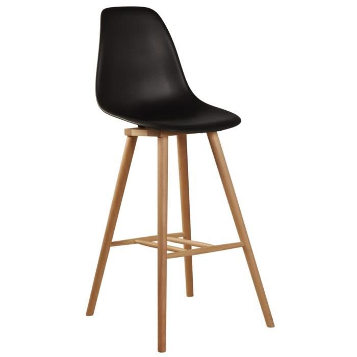 James Tabouret De Bar Design Scandinave Noir Achat