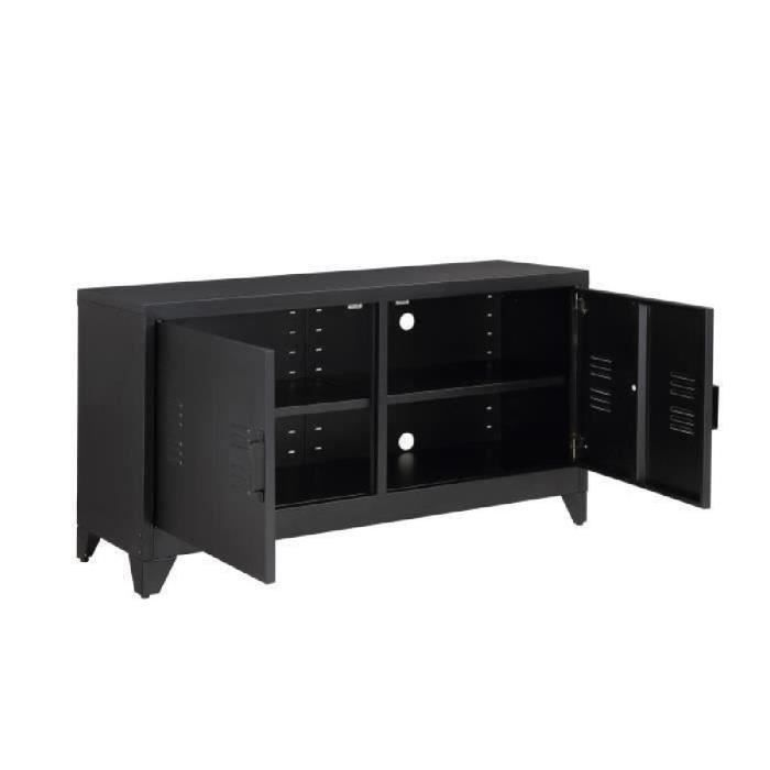 camden meuble tv industriel en m tal laqu noir l 119 cm. Black Bedroom Furniture Sets. Home Design Ideas