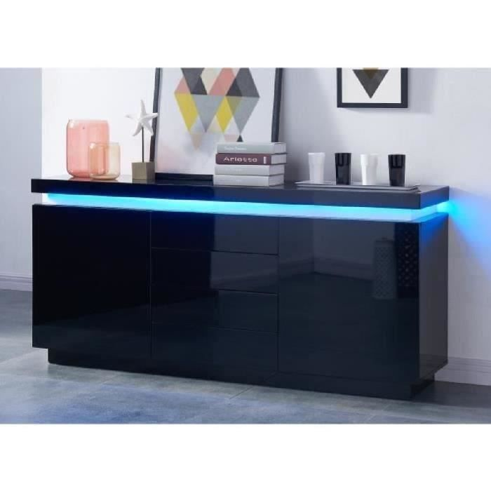 Flash buffet contemporain en bois laqu noir avec leds multicolore l 175 cm - Buffet noir laque ikea ...