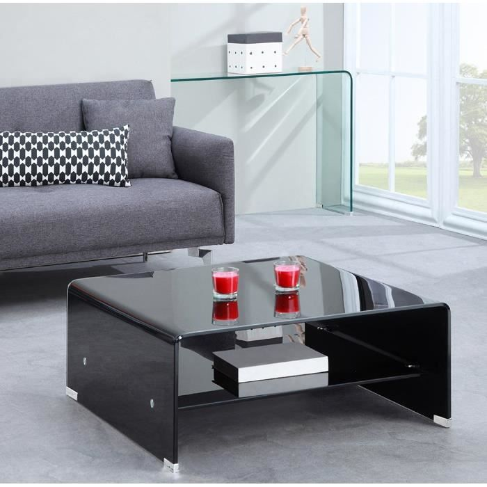 glass table basse carr e en verre noir tag re achat vente table basse glass table basse. Black Bedroom Furniture Sets. Home Design Ideas
