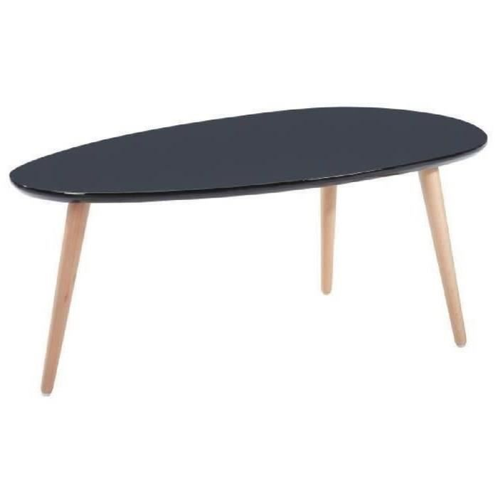 Stone Table Basse Ovale Scandinave Noir Laque L 88 X L 48 Cm