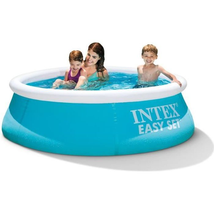 Piscinette easy set intex turquoise 1 83m x 51cm achat for Piscine tubulaire rectangulaire intex 7 32x3 66x1 32 m