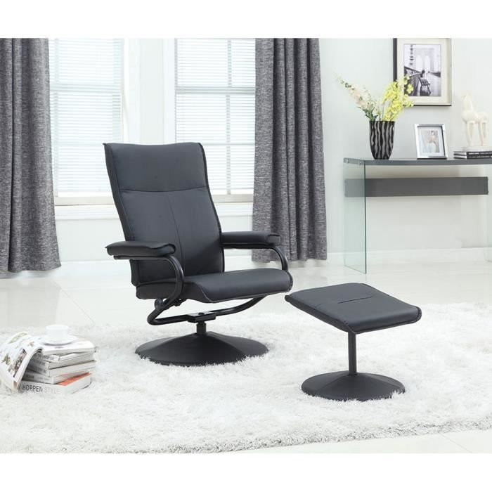 fauteuil relax repose pieds noir dossier inclinable. Black Bedroom Furniture Sets. Home Design Ideas