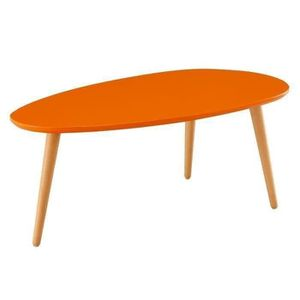 TABLE BASSE STONE Table basse ovale scandinave orange laqué -