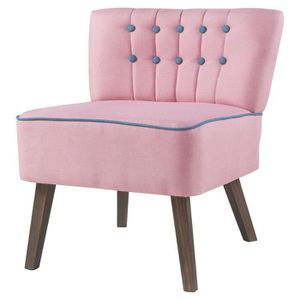 FAUTEUIL STANFORD Fauteuil crapaud- Tissu rose boutons bleu