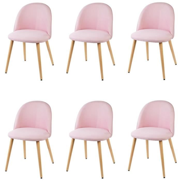 macaron lot de 6 chaises de salle manger tissu rose pastel scandinave l 50 x p 50 cm. Black Bedroom Furniture Sets. Home Design Ideas