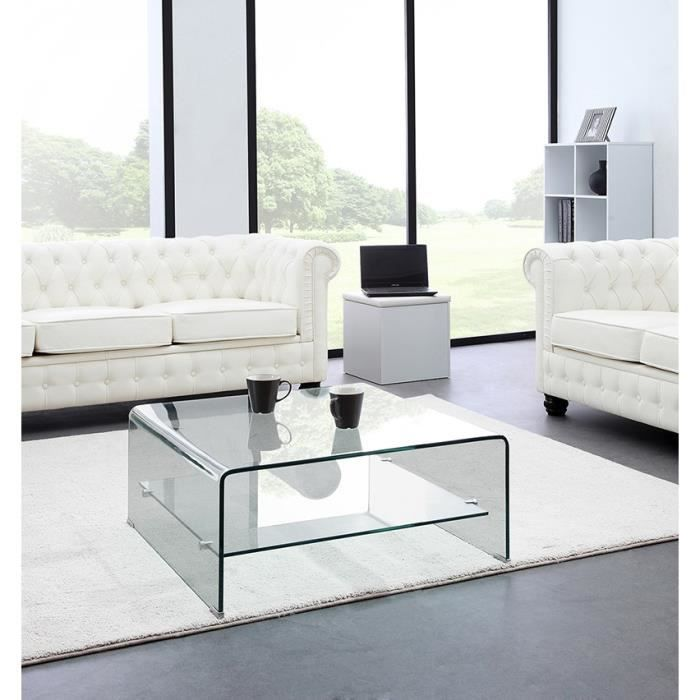 glass table basse carr e en verre tremp tag re achat. Black Bedroom Furniture Sets. Home Design Ideas