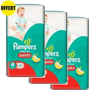 COUCHE Pampers Baby Dry Pants Taille 4 - Lot de 3 Géants