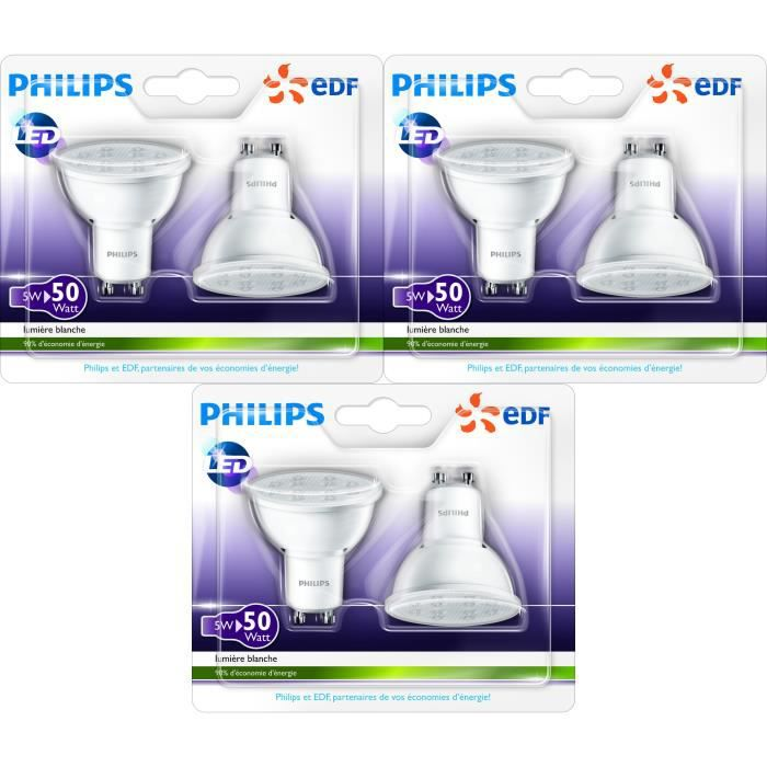 philips lot de 6 ampoules spot gu10 led 50w en partenariat avec edf achat vente ampoule. Black Bedroom Furniture Sets. Home Design Ideas