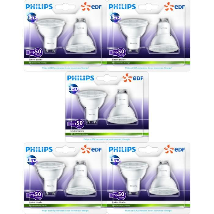 philips lot de 10 ampoules spot gu10 led 50w en partenariat avec edf achat vente ampoule. Black Bedroom Furniture Sets. Home Design Ideas
